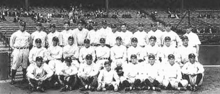 The 1927 New York Yankees, one of the greatest baseball teams of all-time. (Ruth is on top row, fifth from the left.)