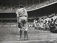 Nat Fein's Pulitzer Prize-winning photograph of Ruth at Yankee Stadium, June 13, 1948.  This was his last public appearance before his death.