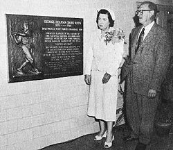 Ruth's widow, Claire, at the  unveiling of a memorial plaque in Baltimore's old Memorial Stadium (1955)