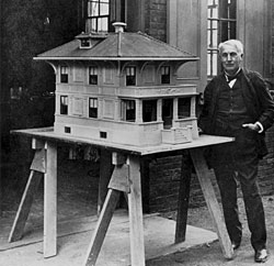 Photo: Edison with Cement House Model.